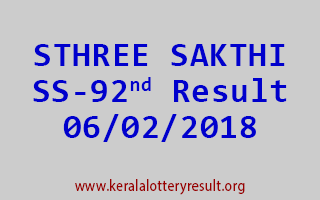 STHREE SAKTHI Lottery SS 92 Results 06-02-2018