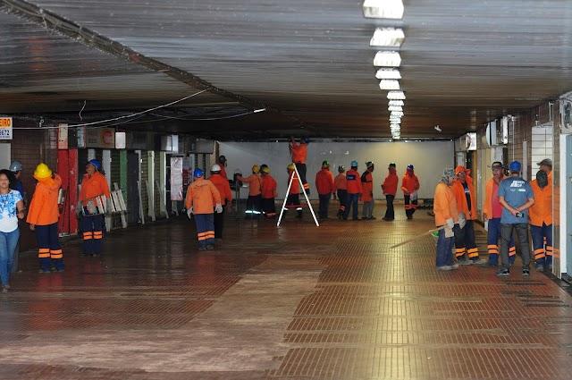 Galeria dos Estados no centro de Brasília passa por manutenção preventiva