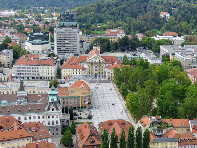 Congress Square viewed from above in Ljubljana Slovenia
