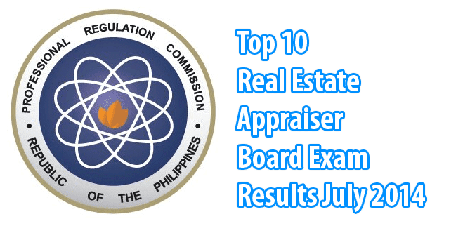 Real Estate Appraiser Board Exam Topnotchers July 2014