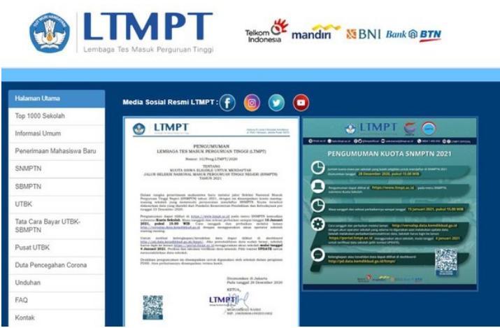 Cara Cek Kuota SNMPTN 2021 Portal LTMPT