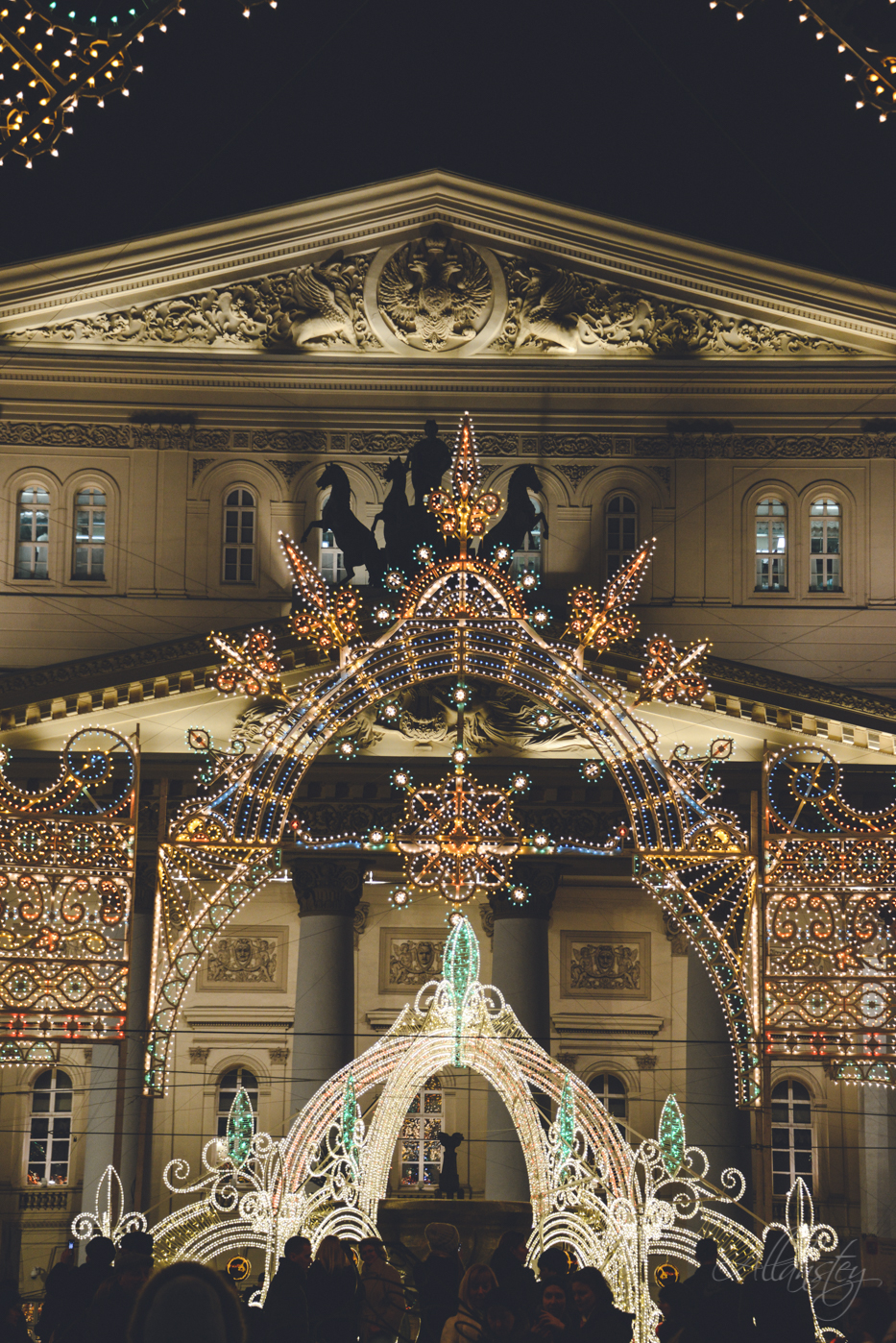 Bolshoi theatre Christmas holiday decoration in Moscow, Russia