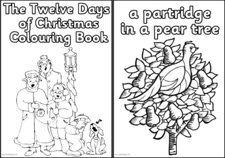 Bed rested teacher 24 christmas books and free activities for 12 days of christmas coloring page
