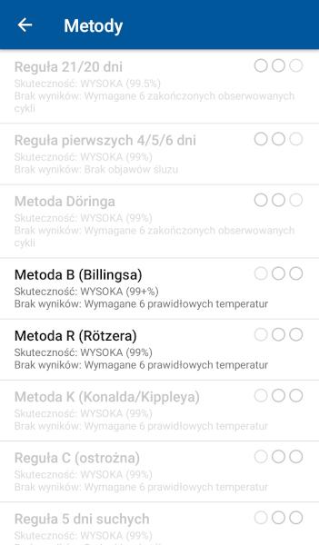 [Zdjęcie listy metod w aplikacji OvuView z zaznaczonymi regułami B i R]
