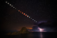 Total Lunar Eclipse and Lightning Storm