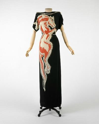 Gilbert Adrian long evening dress named Roan Stallion on dress form