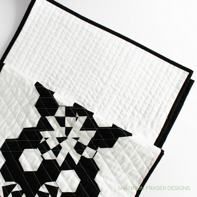 Black and White Hexie Table Runner | Shannon Fraser Designs | Kona Cotton | Riley Blake Designs | Needle Turn Appliqué | Straight Line Quilting | Modern Quilting