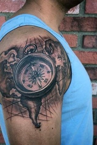 Compass + Map Shoulder Tattoo