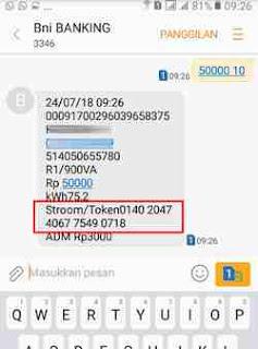 20 digit token listrik via BNI SMS banking