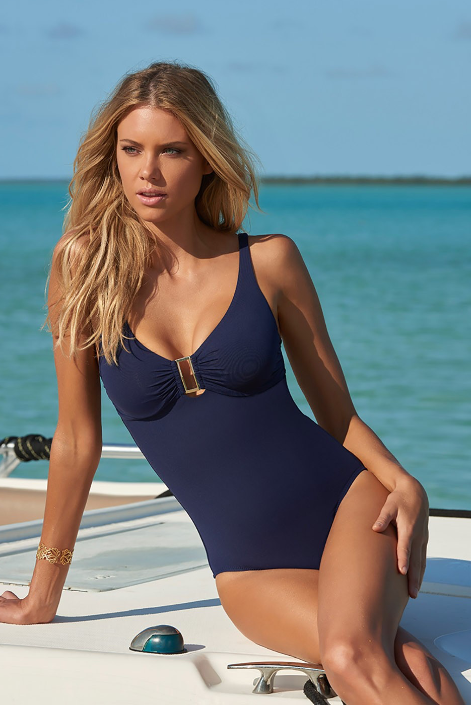 MELISSA ODABASH  TUSCANY OVER-THE-SHOULDER SWIMSUIT NAVY