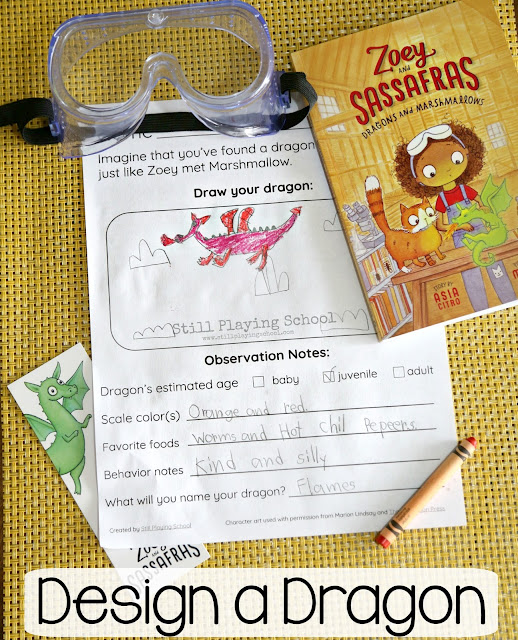 Free Design a Dragon writing sheet for after reading the science based chapter book Zoey and Sassafras