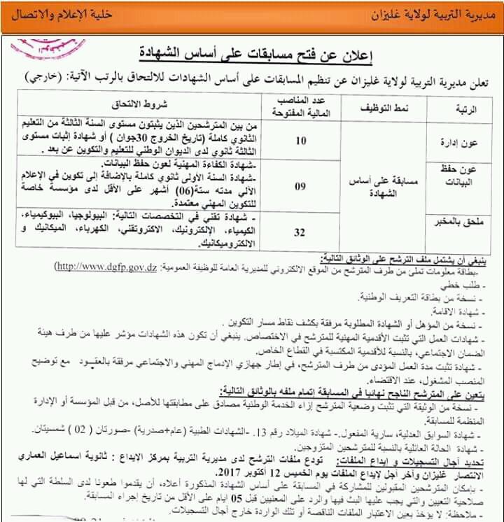 اعلان توظيف اداريين بمديرية التربية لولاية غليزان سبتمبر 2017