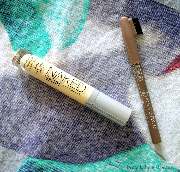 Urban Decay Naked Skin Color Correcting Fluid in Yellow and Essence Eyebrow Designer Pencil in Soft Blonde