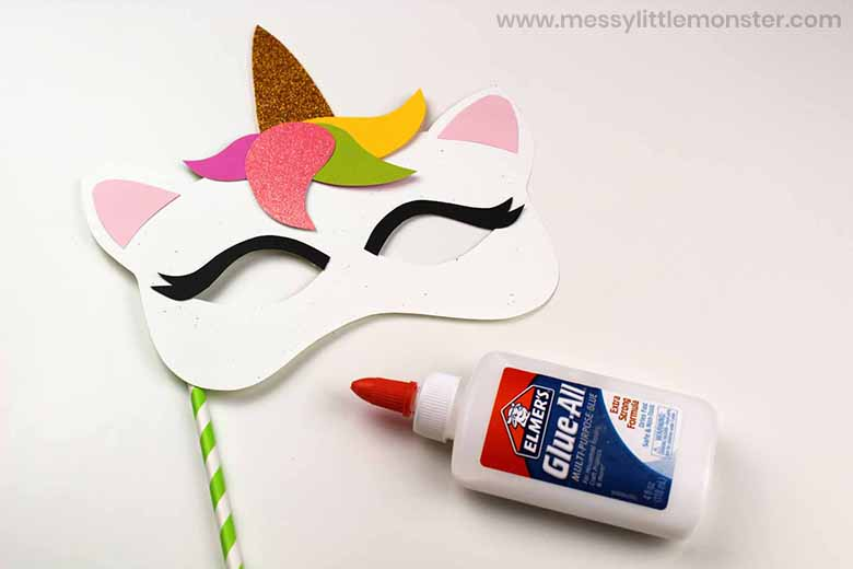 easy unicorn mask craft for preschoolers