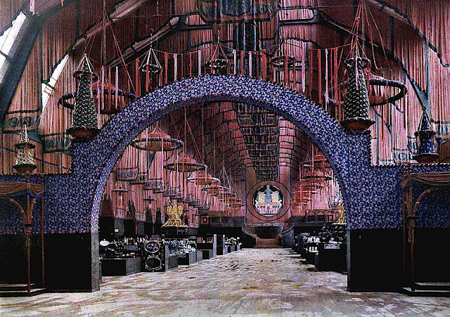 an ornate 1912 museum display in Germany, a color tinted photograph