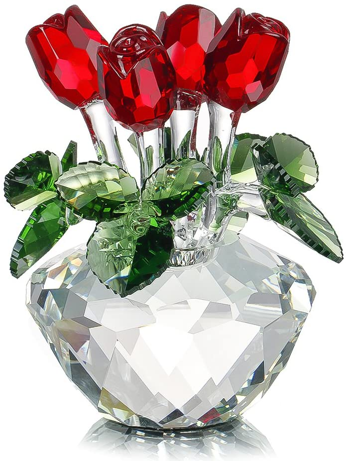 Crystal Glass Red Rose Figurine Ornament