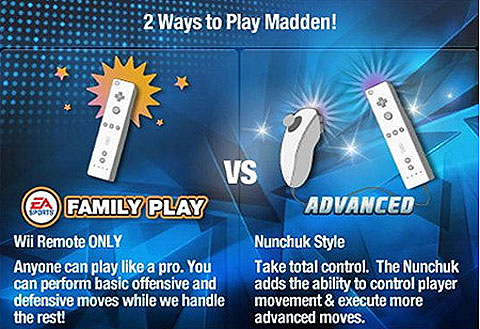 EA Madden NFL 08 Wii: Family Play accessible gaming option.