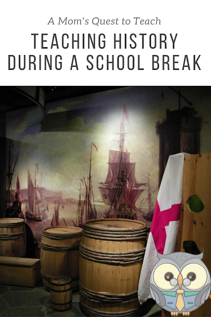 Text: A Mom's Quest to Teach; Teaching History During a School Break; photo of barrels in a museum in Charlestowne Landing