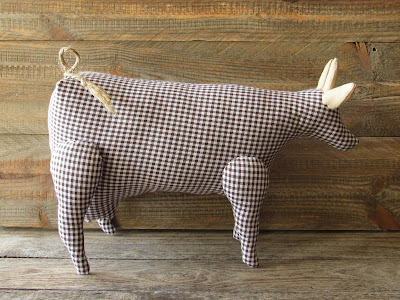 Tilda fabric cow with gingham pattern