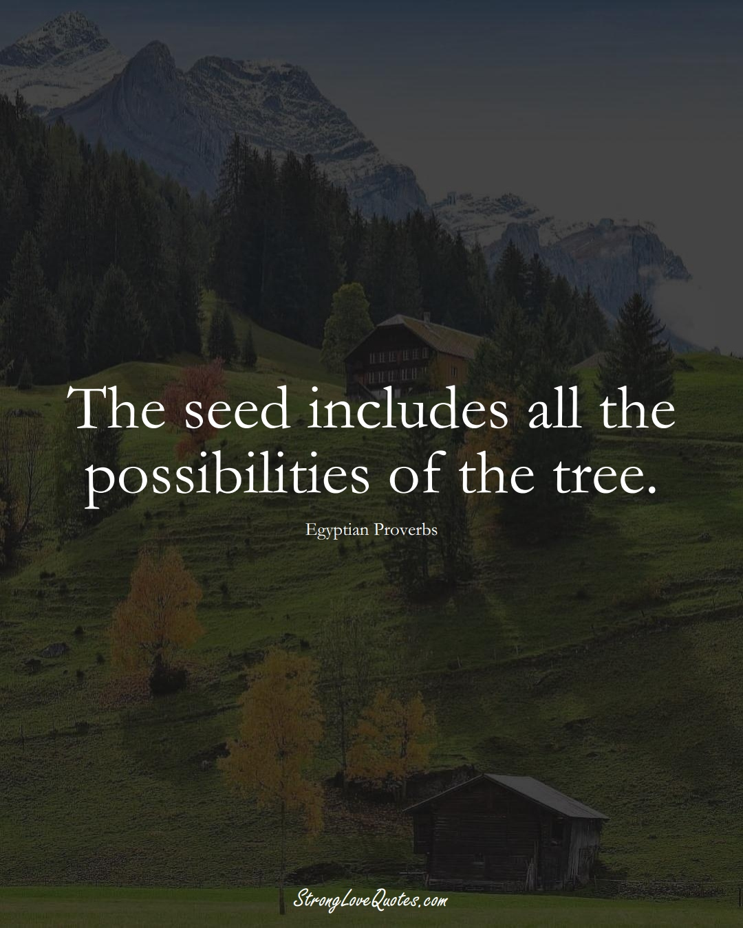 The seed includes all the possibilities of the tree. (Egyptian Sayings);  #MiddleEasternSayings