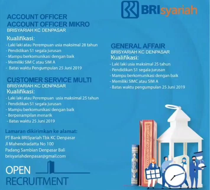 Lowongan Kerja Pegawai Bank BRISYARIAH Minimal D3 S1 Semua Jurusan