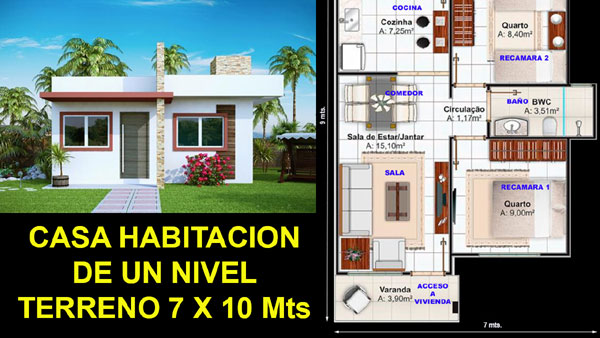 Plano de casa en terreno de 7 x 10 metros proyectos de casas for Planos de casas 9 x 10