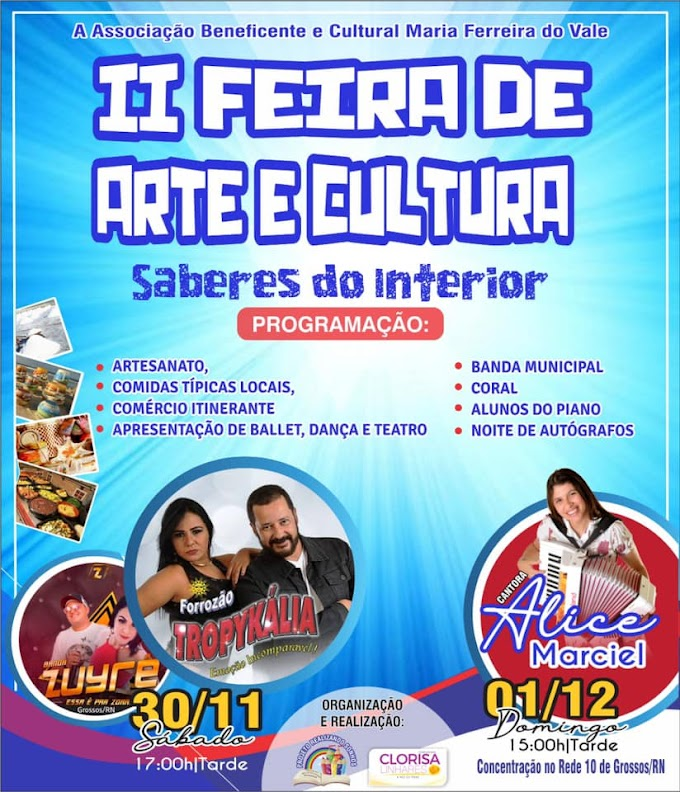 II Feira de Arte e Cultura terá shows com Forrozão Tropykália e Zuyrê no sábado, e Marcha para Jesus com Alice Maciel no domingo