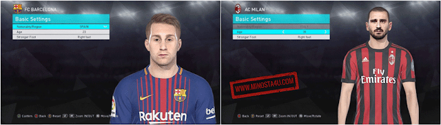 PES 2018 Deulofeu and Bonucci Face
