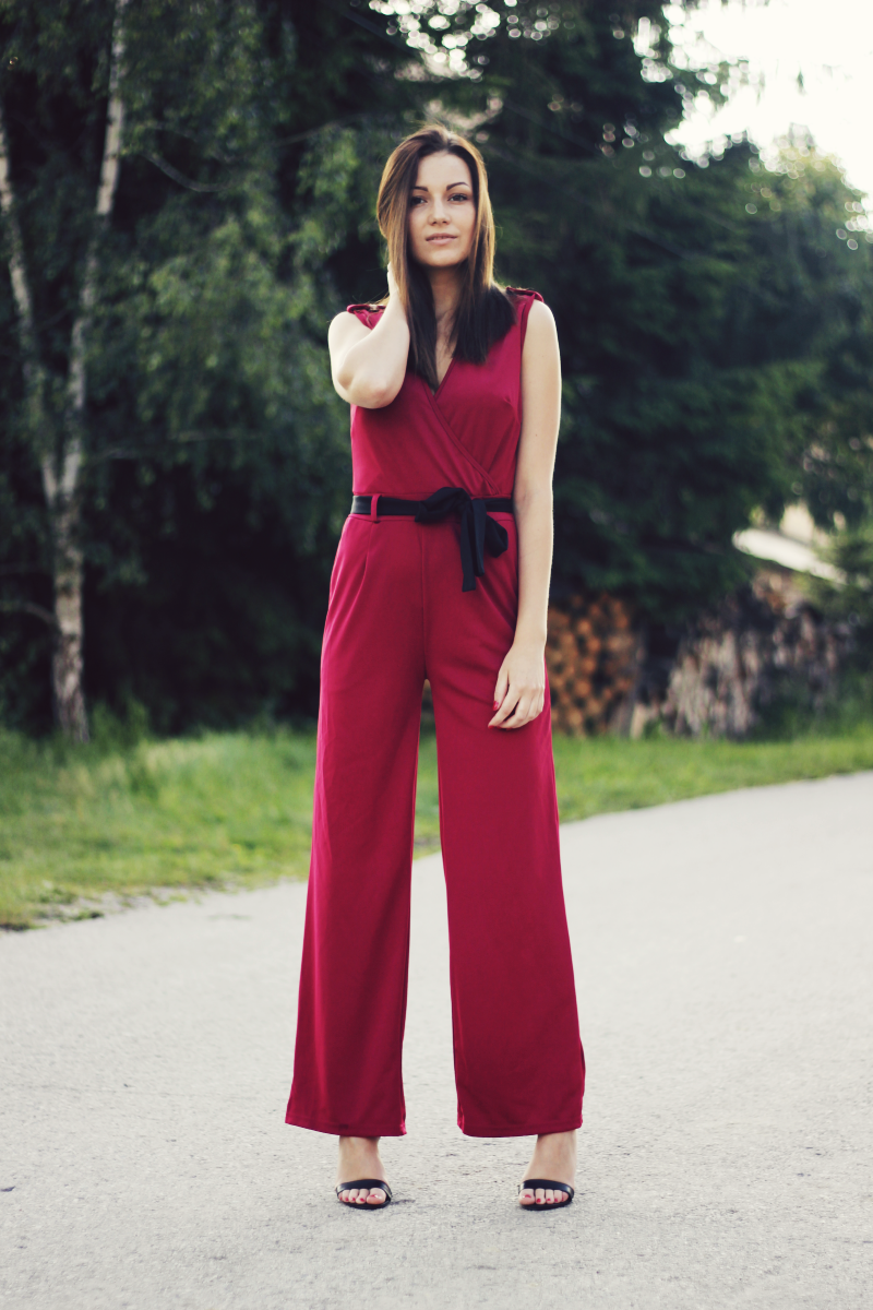 elegant burgundy playsuit