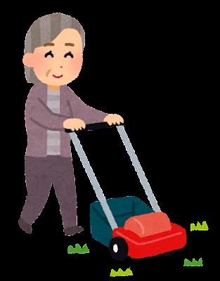 芝刈りのイラスト(お婆さん)
