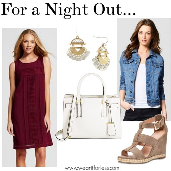 Women's Sleeveless Shift Dress with Lace - MeronaTM • Merona • $20.98 Women's Metal Fish Hook Earring with Etched 2 Part Half Circle Casts and Circle Stamps - Gold/Silver • $9.99 Merona® Women's Faren Espadrille Sandals - MeronaTM • Merona • $29.99 Merona® Women's Denim Jacket - MeronaTM • Merona • $29.99 Merona Women's solid Med Belted Tote • Merona • $39.99
