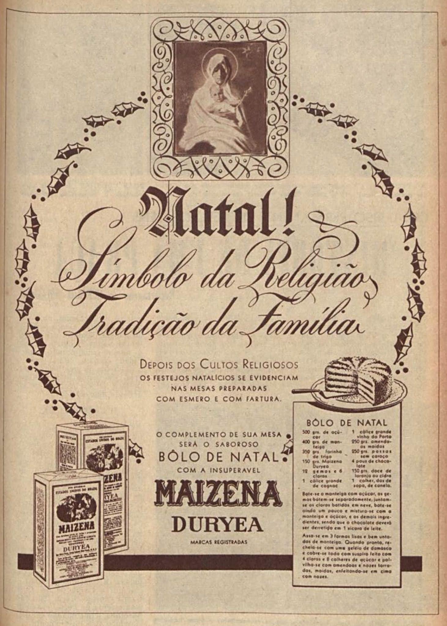 Anúncio antigo da Maizena com receita para o Natal de 1949