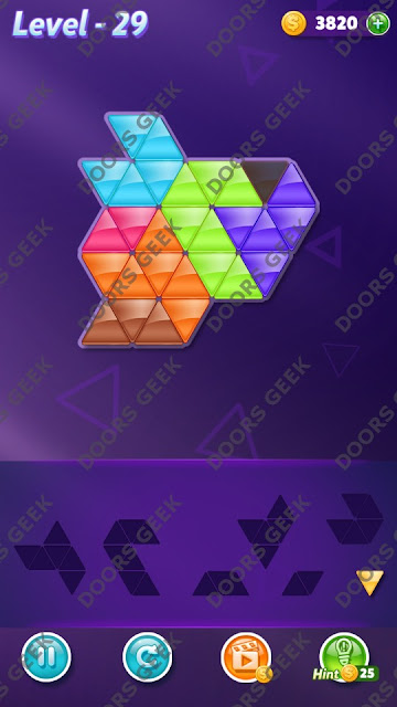 Block! Triangle Puzzle 7 Mania Level 29 Solution, Cheats, Walkthrough for Android, iPhone, iPad and iPod