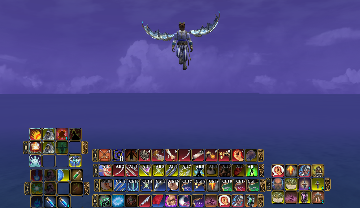 This Is A Cutaway Of The Center My Screen In EQ2 Four Long Hotbars Are All Combat Abilities I Use Most Them On Cooldown Every Fight That