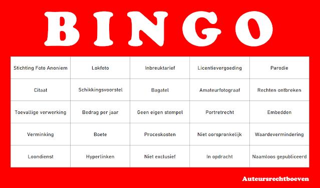Bingokaart auteursrecht