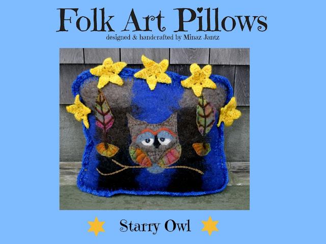 Starry Owl designer pillows by Minaz Jantz