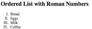 tampilan ordered list angka romawi uppercase pada laman html
