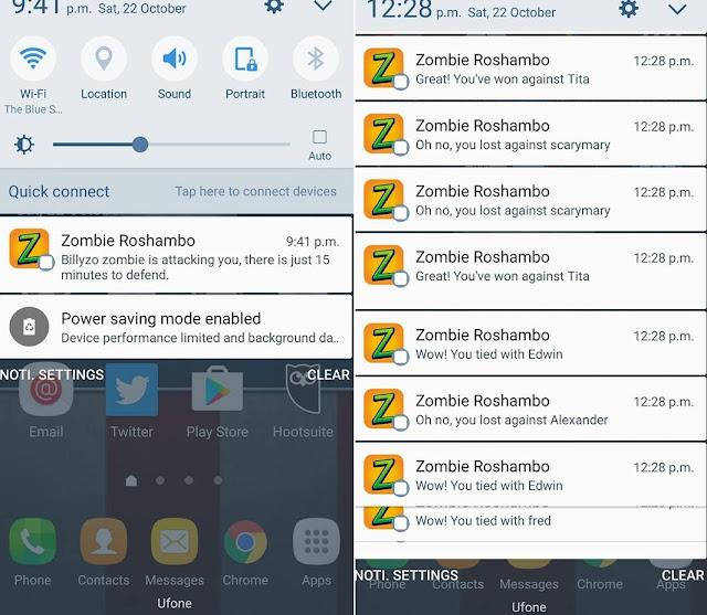 Zombie roshambo location based online game android iOS battle notification