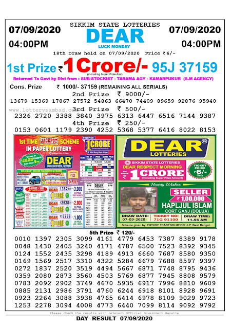 Sikkim State Lottery Sambad 07-09-2020 Today Result 4 PM