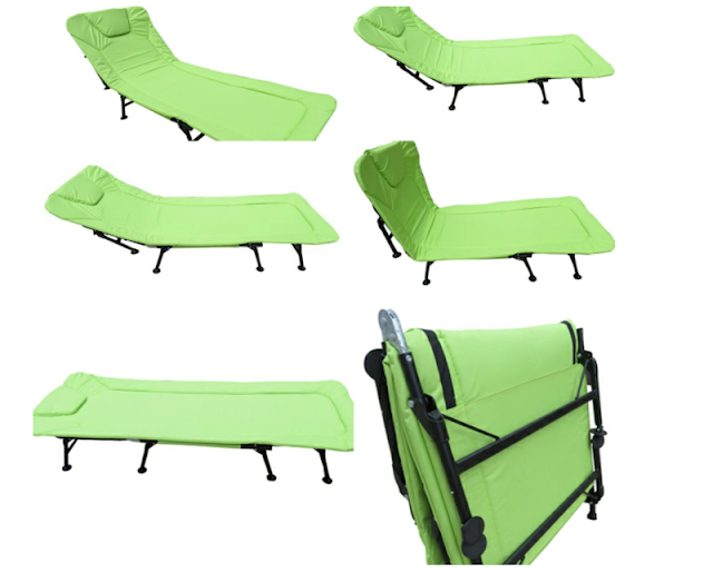 AMAZE steel Folding Outdoor Camping Travelling sea Beach, Hotel, Hospital, Home Adjustable Padded Bed, Sun Lounger, Beach Lounger (Fluorescent Green)