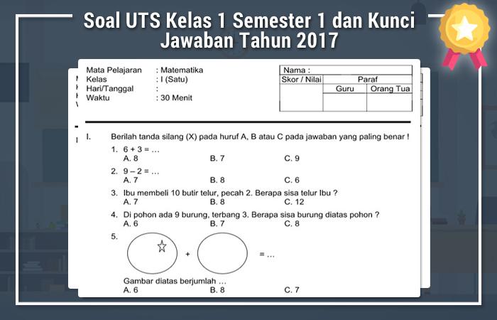 Soal UTS Kelas 1 Semester 1 dan Kunci Jawaban Tahun 2017