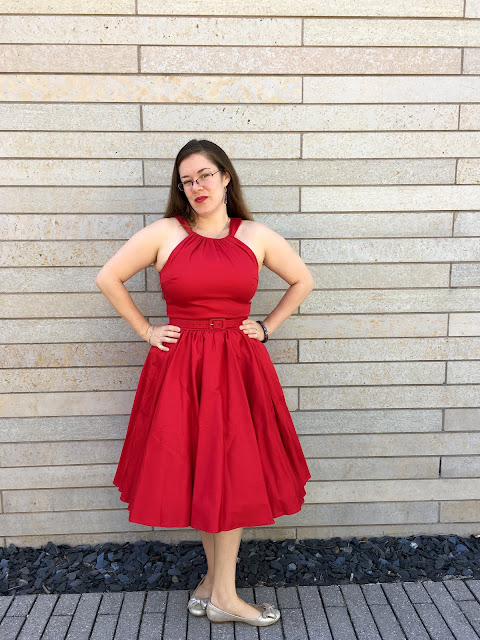 pinup girl red harley dress