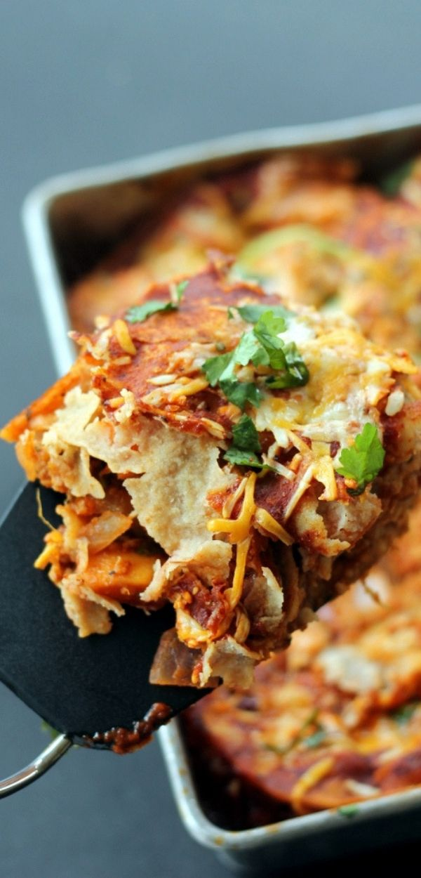 Layered BBQ Chicken & Sweet Potato Enchilada Casserole