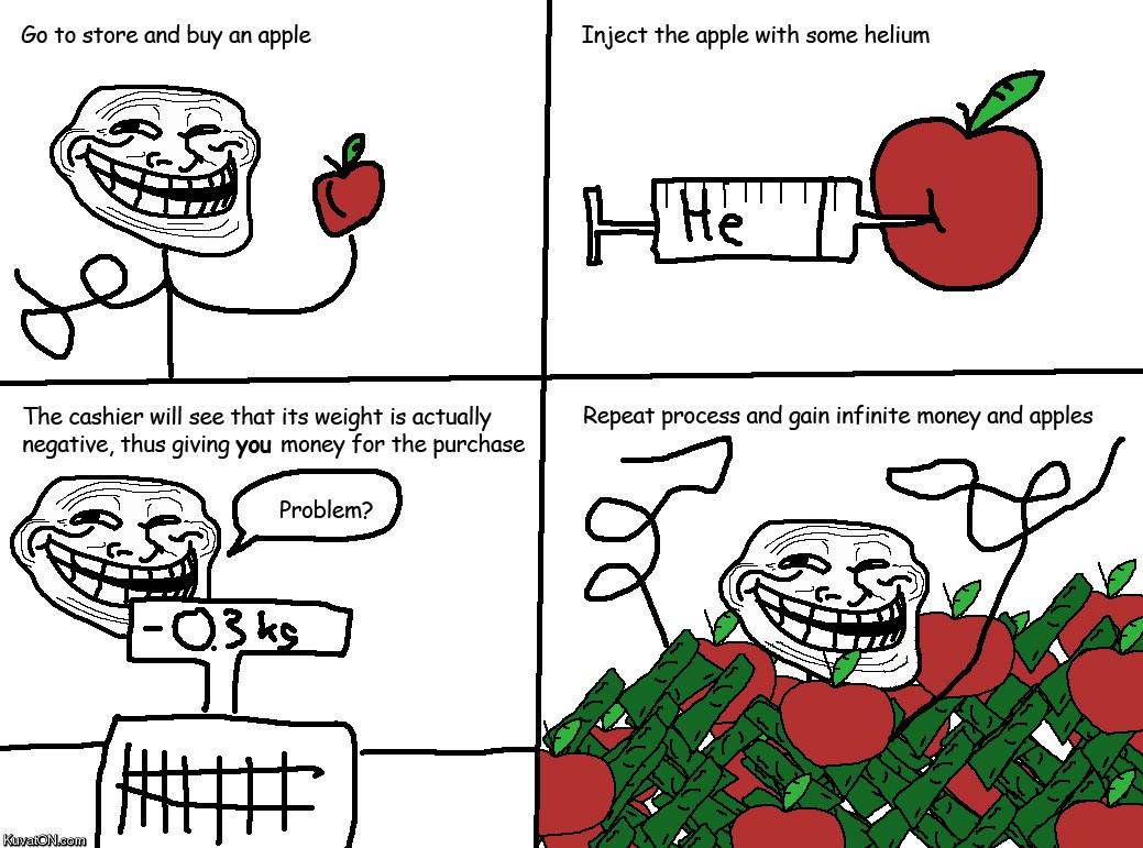 Inflate apples and sell them for money