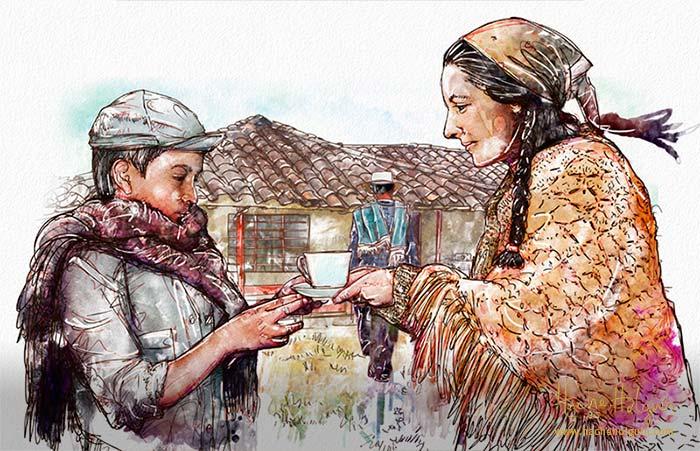 Ilustración de niño campesino colombiano con su mamá