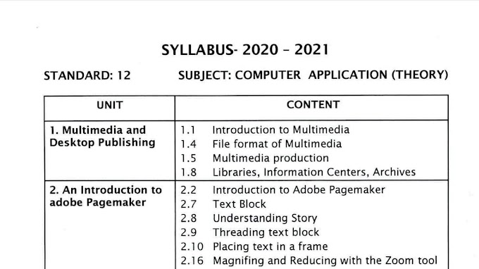 12th Std Computer Application Reduced| New Syllabus 2020-2021 | Download Pdf |