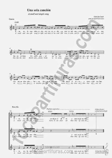 UNA SOLA CANCIÓN PARTITURA FORMA CANON A TRES VOCES EN CLAVE DE SOL POR GABRIELA CAREL (Voz y/o Coro, Flautas, Violín, Oboe, Trompeta, Clarinete, Cornos...