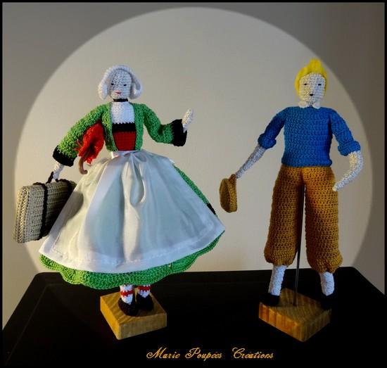 Poupées Bécassine et Tintin