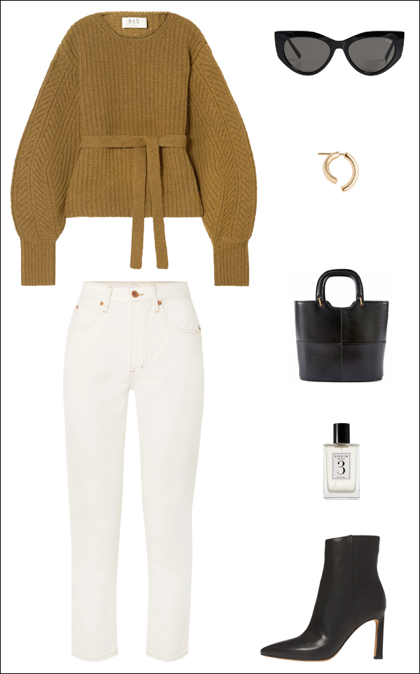 A Cozy Yet Incredibly Stylish Outfit Idea for Fall and Winter — Neutral Sweater and White Jeans