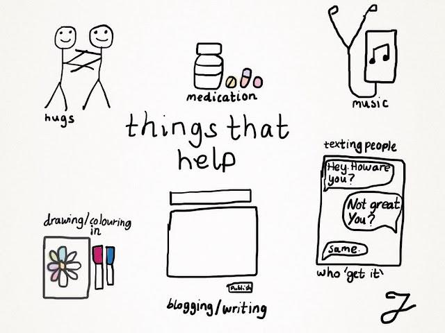 Things that help - mental health doodle by Jen In Socks